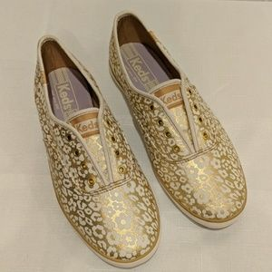 Keds Metallic Leopard Floral Slip On Sneakers